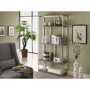 Bookcase - 72H / Dark Taupe with Chrome Metal