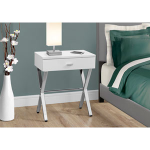 Accent Table - Glossy White / Chrome Metal Night Stand