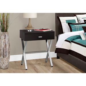 Accent Table - Cappuccino / Chrome Metal Night Stand