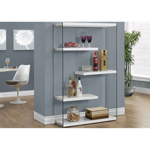 Glossy White 60-Inch Bookcase