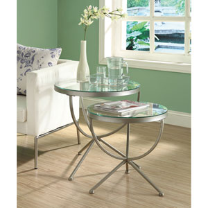 Nesting Table - 2 Piece Set / Silver with Tempered Glass
