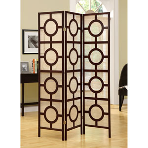 Folding Screen - 3 Panel / Cappuccino  Circle Design