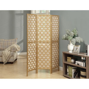 Folding Screen - 3 Panel / Gold Frame  Lantern Design