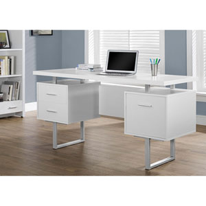 White 60-Inch Office Desk