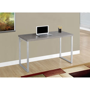 Computer Desk - 48L / Dark Taupe / Silver Metal