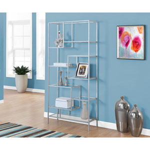 Bookcase - 72H / Silver Metal with Tempered Glass