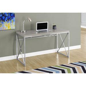 Computer Desk - 48L / Dark Taupe / Chrome Metal