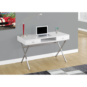 Computer Desk - 48L / Glossy White / Chrome Metal