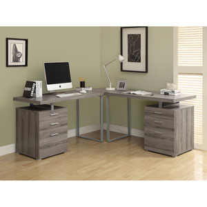 Computer Desk - Dark Taupe Reclaimed Look L Shaped Corner Desk