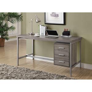 Computer Desk - Dark Taupe / Silver Metal