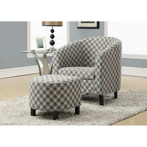 Grey Accent Chair with Ottoman