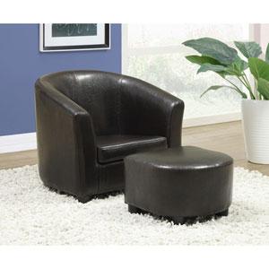 Juvenile Chair - 2 Piece Set / Dark Brown Leather-Look