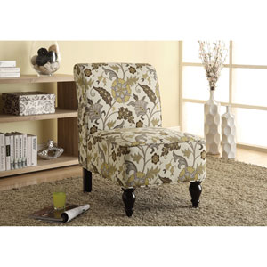 Accent Chair - Brown / Gold Floral Traditional Fabric