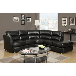 Sofa - Sectional / Black Bonded Leather