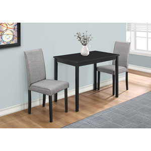 Black and Grey Linen 3 Piece Dining Set