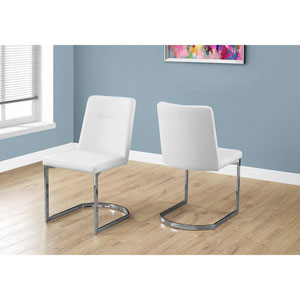 White Leather-Look Dining Chair with Chrome Set of 2