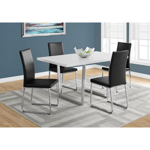 White Glossy Dining Table with Chrome Metal