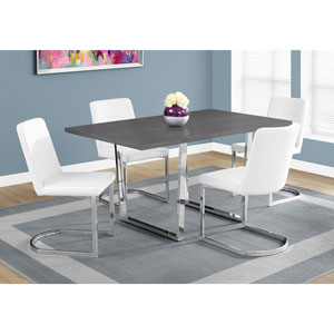 Grey Dining Table with Chrome Metal