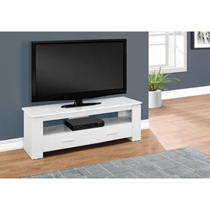 White 48-Inch Tv Stand with 2 Storage Drawers