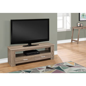Dark Taupe 48-Inch Tv Stand with 2 Storage Drawers