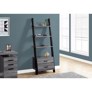 Grey-Black Ladder Bookcase with 2 Storage Drawer