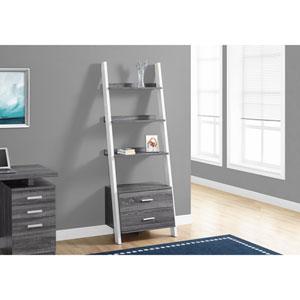Grey-White Ladder Bookcase with 2 Storage Drawer