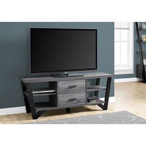 Grey-Black TV Stand with 2 Storage Drawers