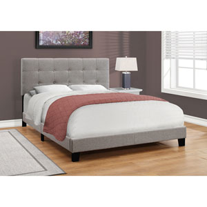 Grey Linen Queen Size Bed