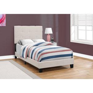 Beige Linen Twin Size Bed
