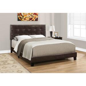 Dark Brown Leather-Look Queen Size Bed