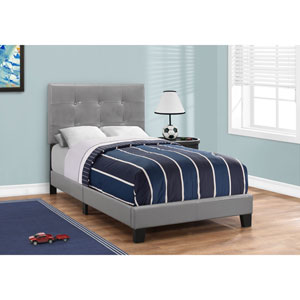 Grey Leather-Look Twin Size Bed