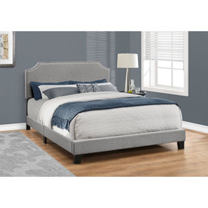 Grey Linen with Chrome Trim Queen Size Bed