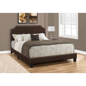 Dark Brown Leather-Look with Brass Trim Queen Size Bed