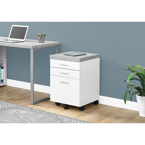 White 3 Drawer Filing Cabinet with Cement-Look On Castor