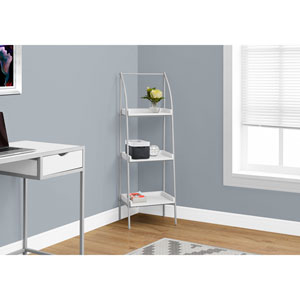 White 48-Inch Bookcase with Silver Metal