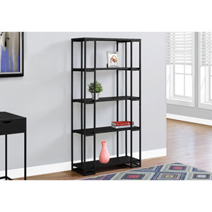 Black 60-Inch Bookcase with Black Metal