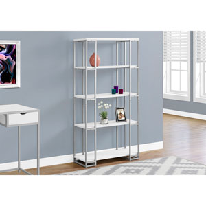 White 60-Inch Bookcase with Silver Metal
