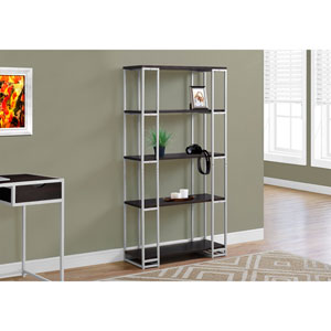 Cappucino 60-Inch Bookcase with Silver Metal