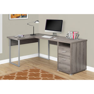 Dark Taupe Left Or Right Facing Computer Desk