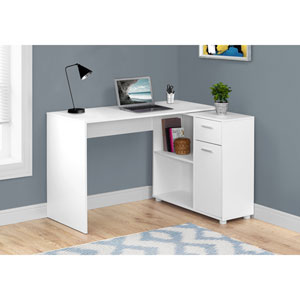 White 46-Inch Computer Desk with a Storage Cabinet