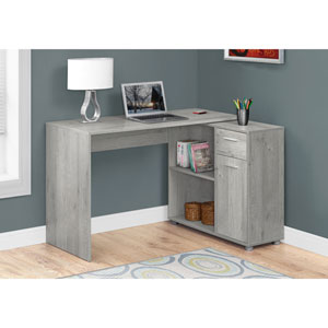 Grey 46-Inch Computer Desk with a Storage Cabinet