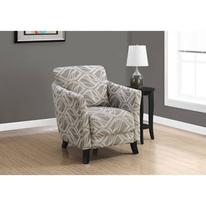 Taupe Leaf Design Accent Chair