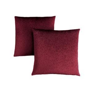 18-Inch Dark Red Floral Velvet Pillow- Set of 2