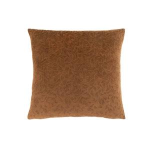 18-Inch Light Brown Floral Velvet Pillow