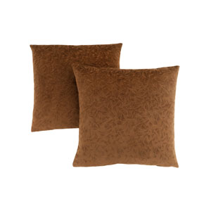 18-Inch Light Brown Floral Velvet Pillow- Set of 2
