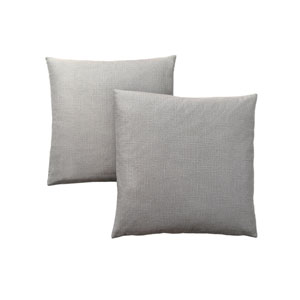 18-Inch Patterned Light Grey Pillow- Set of 2