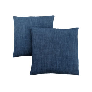 18-Inch Linen Patterned Dark Blue Pillow- Set of 2
