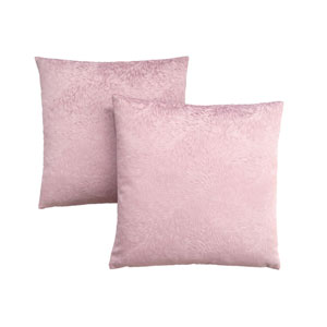 18-Inch Light Pink Feathered Velvet Pillow- Set of 2