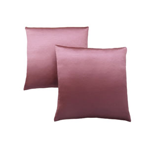 18-Inch Pink Satin Pillow- Set of 2