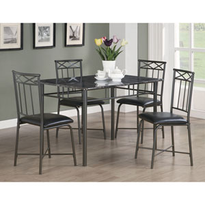Grey Marble and Charcoal Metal 5-Piece Dining Set
